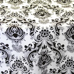 "Black & White Damask  Available In: 84"" Square and Runners"