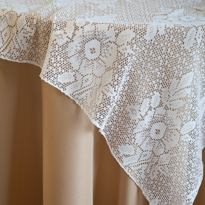 "Ivory Lace, Large Floral Pattern Available In: 84"" Square and Runners"
