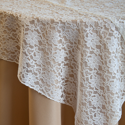"Ivory Lace, Small Floral Pattern Available In: 84"" Square, Runners and Sashes"