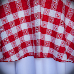 "Red & White Check  Available In: 90"" Round"