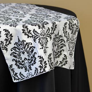 B&W Damask Runner