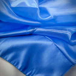 Blue Lagoon Organza Topper with Satin Trim