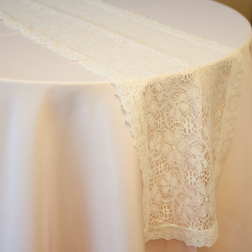 "New! Ivory Lace Runner with Scaloped edge  Available In: 13""x108"""