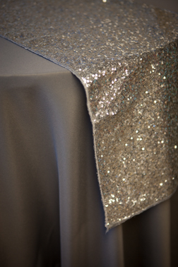 "Silver Sequin Runner   Available In: 13""x108"""