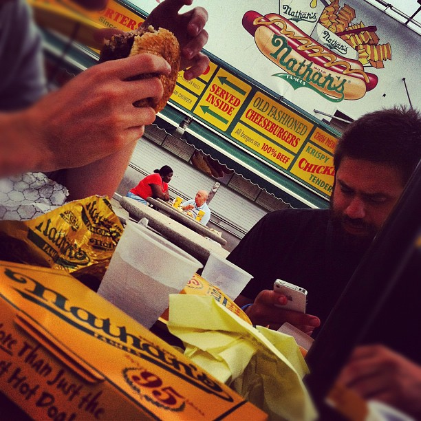 Lunchtime in #coneyisland (Taken with Instagram at Nathan's Famous)