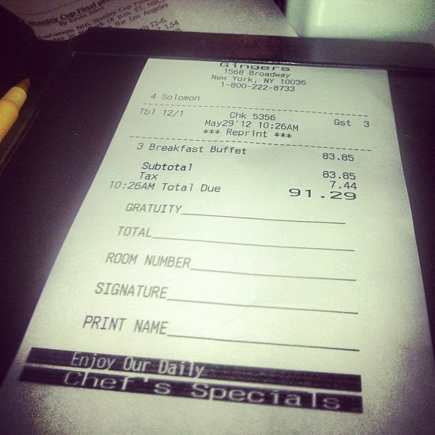 Whoops. Apparently breakfast isn't free at our hotel. (Taken with instagram)