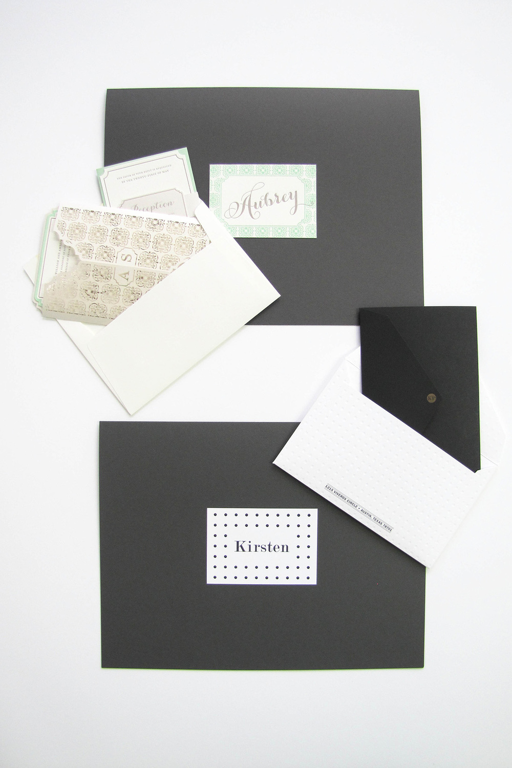 Spark Box:Month One features the Kirsten and Aubrey Suites. You receive two full suites of each, one mounted inside a steel 1-ply folder and one loose for display.