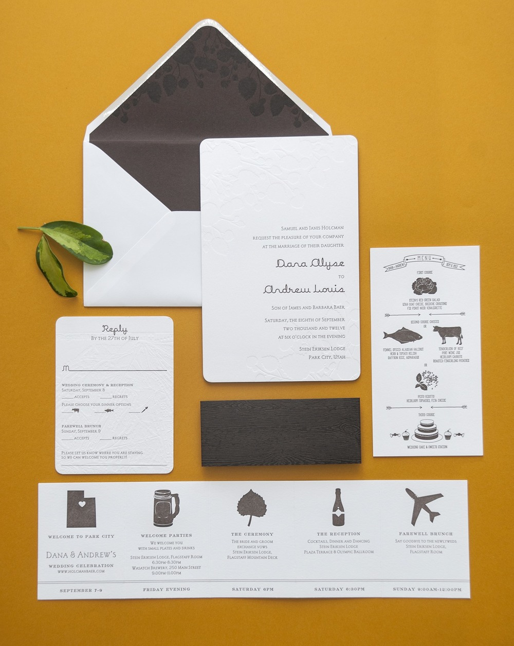 This custom suite came together perfectly with a mix of cute silhouette icons, a woodgrain belly band, blind deboss maps and illustrations, plus that gorgeous printed envelope liner. Credit: Spark Letterpress.