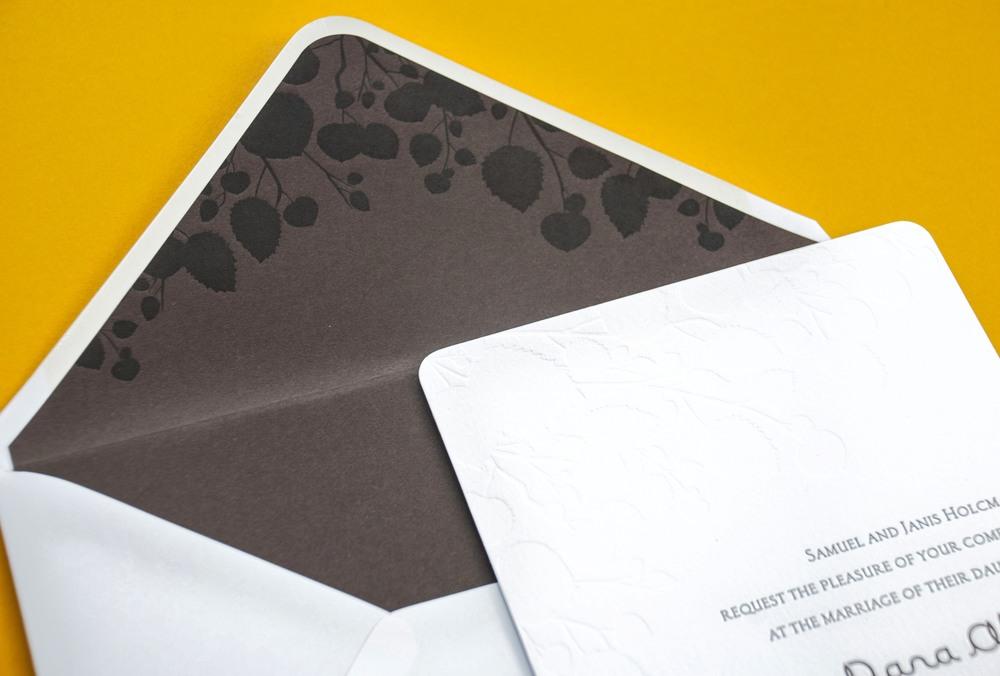 Detail shot of a lovely chocolate printed liner. Credit: Spark Letterpress.