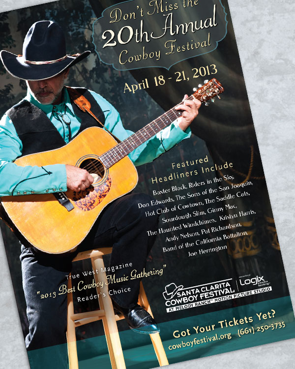 Cowboy Festival Materials have included Posters,  Advertising Campaigns,   Press Kits,   Brochures,   Sponsorship Materials, and  Logos