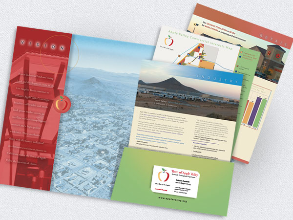 Press kit with left vertical pocket, industry specific inserts, demographic tables and maps.