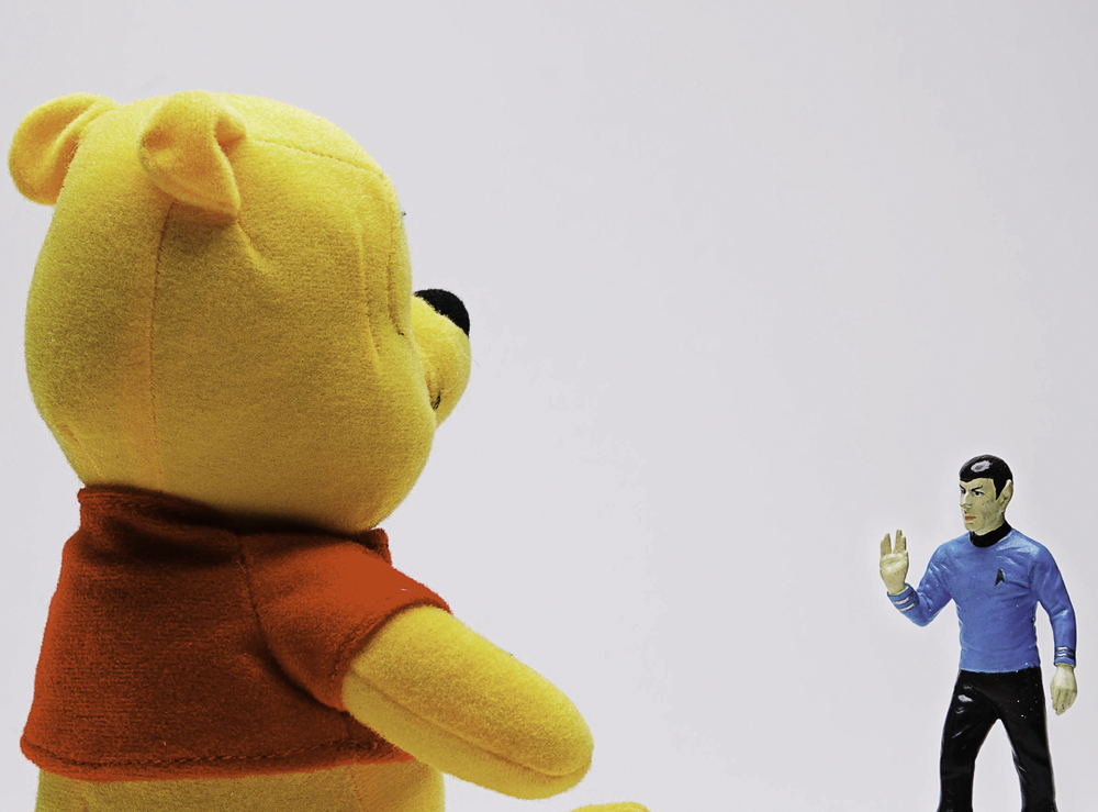 """Mr. Pooh, while your choice of shirt color may seem stylish to you now, I would highly advise against wearing it when you beam down to the surface.  It can only end in sadness"""