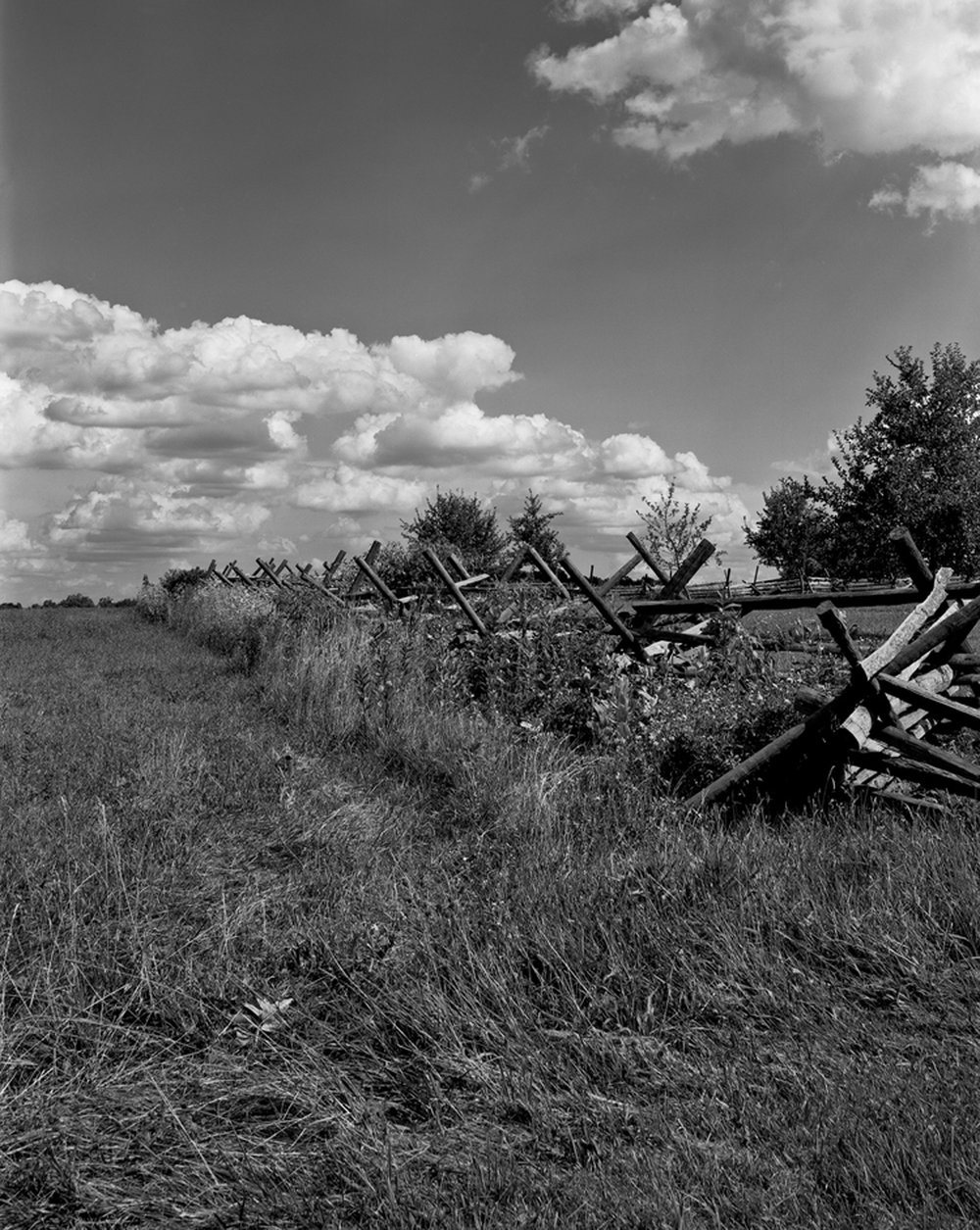 Virginia fencing in a field across from the The Joseph Sherfy barn at Gettysburg.