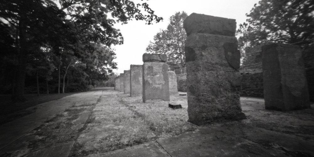 6x12 medium format pinhole. Lockridge Furnace ruins. Alburtis, Pennsylvania.