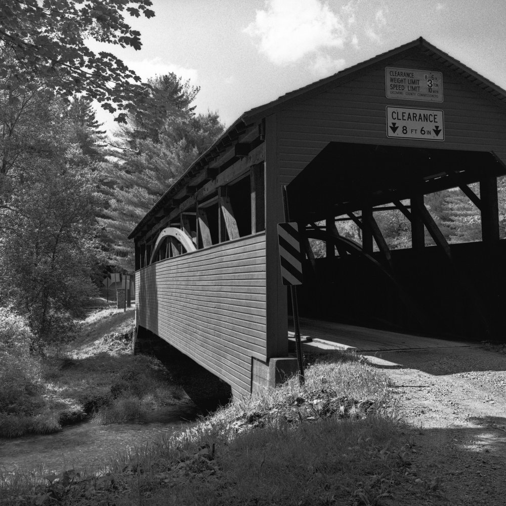 Cogan House Covered Bridge.  Trout Run in Lycoming County, Pennsylvania.  Built in 1877.