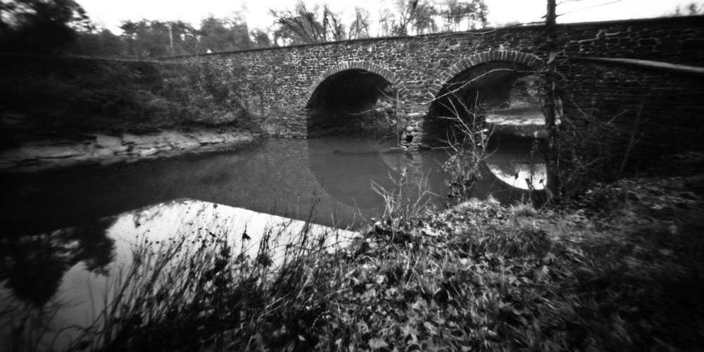 Stone bridge over Bull Run on the Manassas National Battlefield.  Manassas, Virginia.  Santa Barbara Pinhole Co 75mm 4x5.