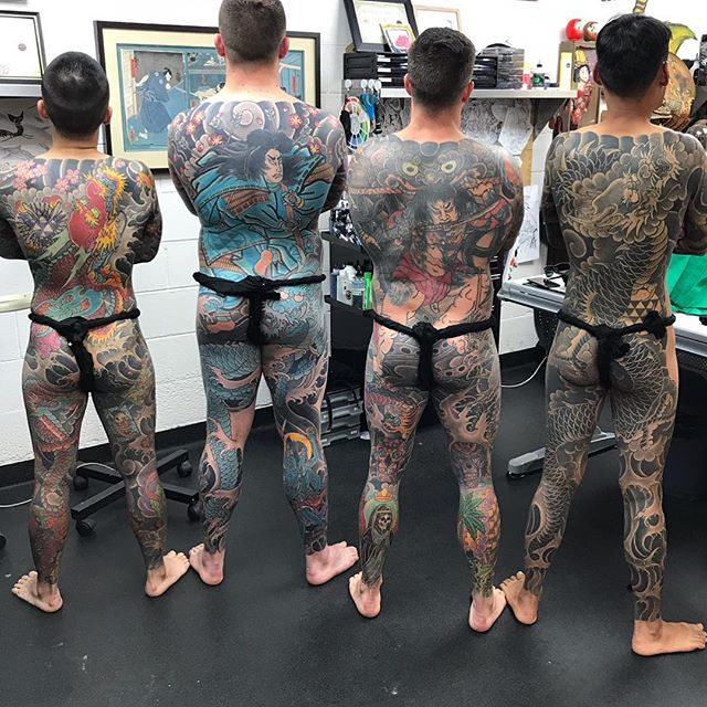 Years of dedication on @e_r_w_i_n_araniego @markjbland Dave and @rvann99 📷 @lighthouse_tattoo for the upcoming Syd tattoo documentary by @nakedlifefilms