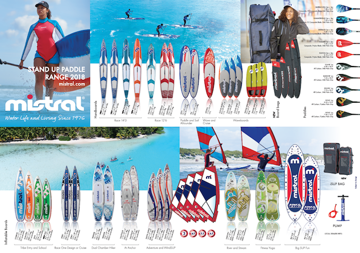 The Mistral inflatable SUP range designed by Steve West and together with Chris Diplock, the hardboard range. The entry level boards and more especially the inflatables are the bread and butter life-blood of the SUP industry. Race boards are more about building brand equity and an exercise in marketing.