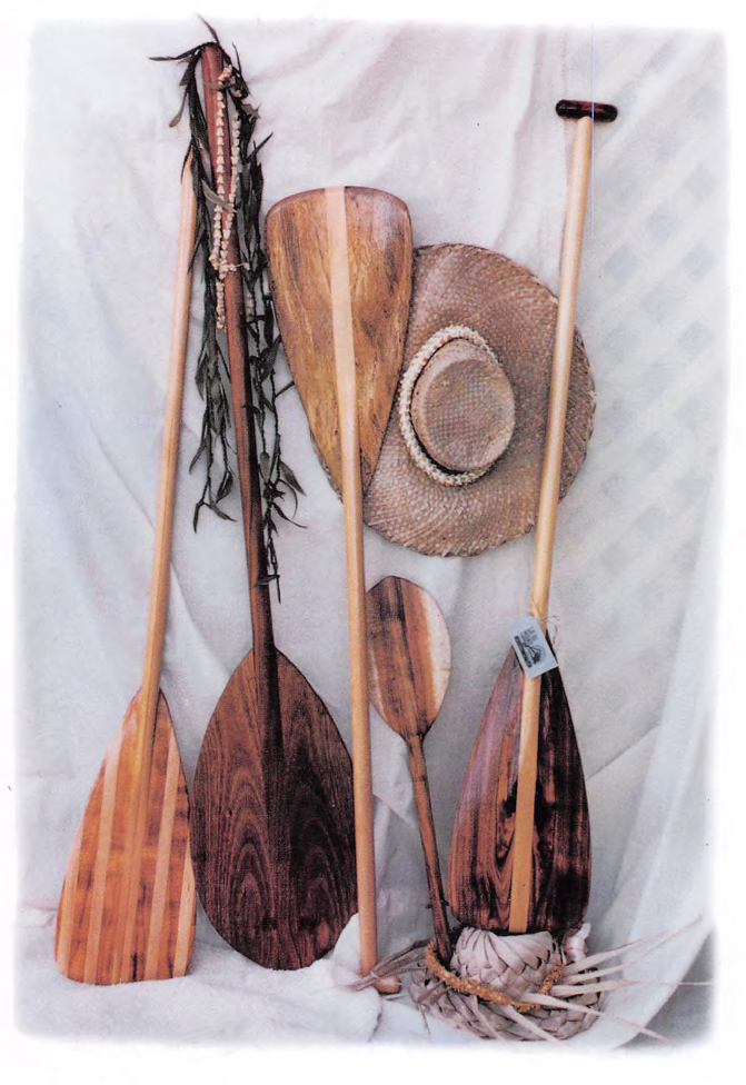 Art by Sunny Pau`ole - One of my all time favourite impressions of paddles; rich, warm and iconic. More on this soon . . . paddles by Mel Pau'ole - La`Au Mana Canoe Paddles