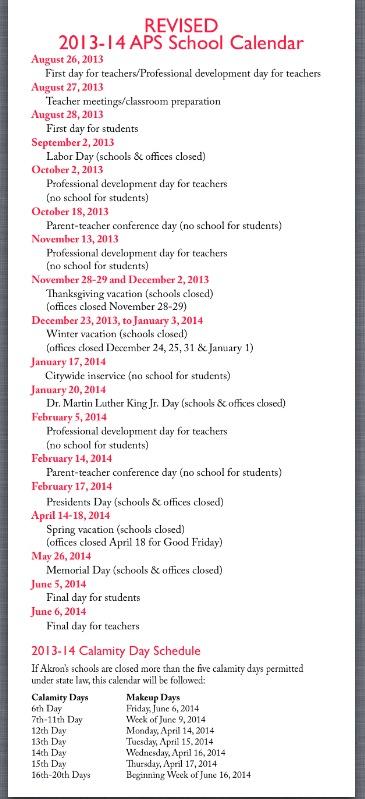 2013 2014 Aps Calendar Litchfield Middle School