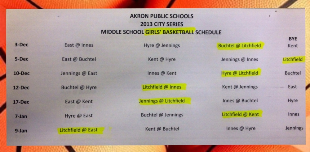 GIRLS' BASKETBALL SCHEDULE CLICK to Enlarge