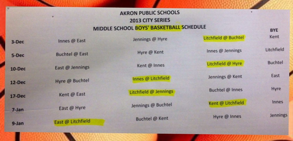 BOYS' BASKETBALL SCHEDULE CLICK to Enlarge
