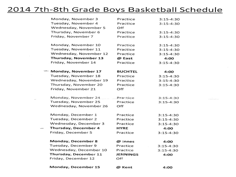 SCHEDULE FOR 2014-2015 LMS BASKETBALL TEAM