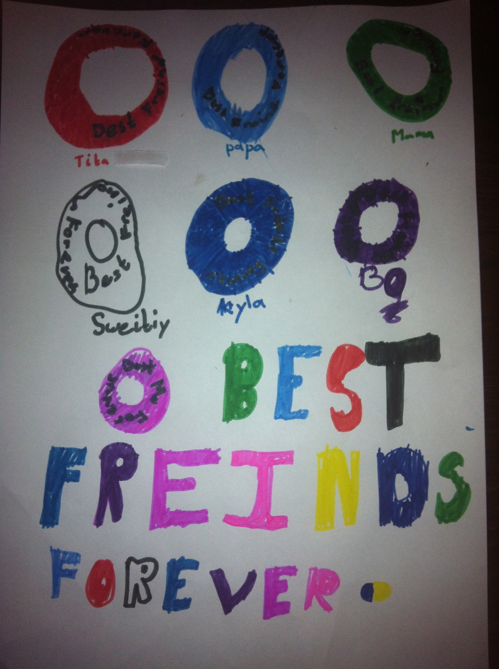 BFF Bracelets ... as depicted by a a 7-yr-old.