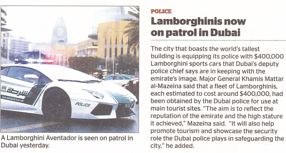 "Lamborghin""ME"", Why Don't You?  (Doha, Gulf Times, Saturday, April 13, 2013)"