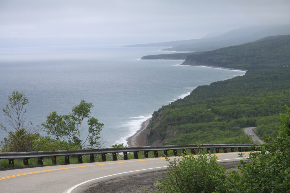 Rugged Cabot Trail coastline.  (Nova Scotia, Canada)
