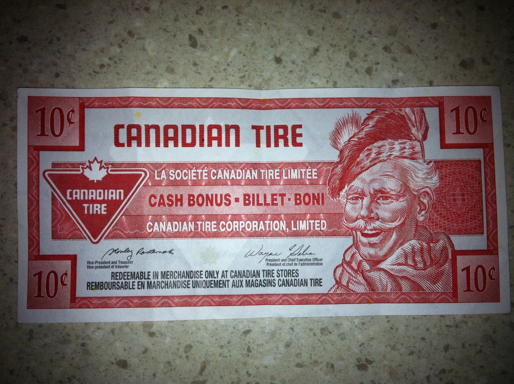 And last, but not least, Canadian Tire money!!!!!