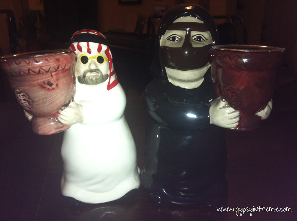 More bar dwellers.  Mr. and Mrs. Q. also hang out at the bar.  They are incense burners, given to me as a going away gift when I resigned from my last job.  They're easily found in the local souq, but these ones are special as they were given to me by some simply amazing Qatari colleagues.