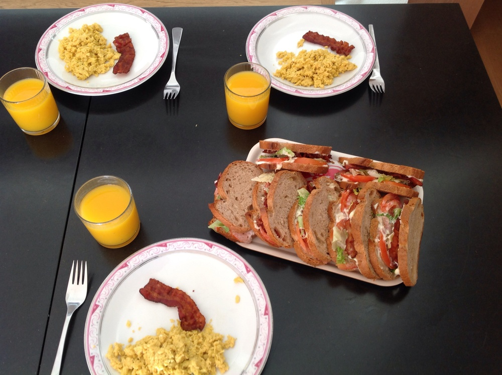 Total indulgence ... Smilin' Vic's BLT's, scrambled eggs with ementhal and bacon.