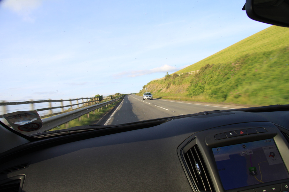 On the way to Aberystwyth ... The roads don't get any wider, we're on the wrong side, and it's a steep drop on MY side!