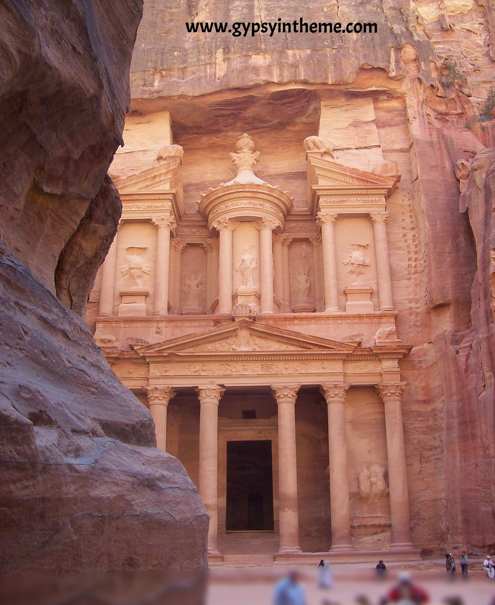 Our first glimpse of the Treasury in Petra.