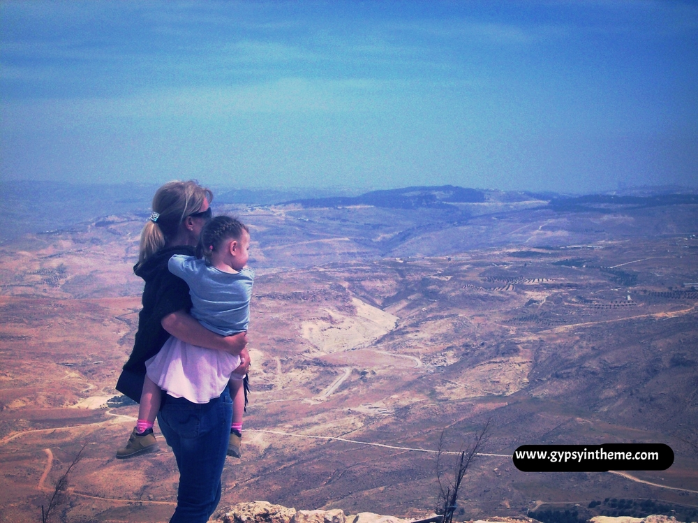 Kiddo and me atop Mount Nebo ... where Moses is said to have stood to gaze onto the Holy Land.