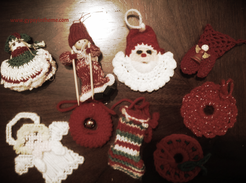 Knit decorations given to me by my mom.  They remind me of my early childhood Christmas trees and much simpler times.