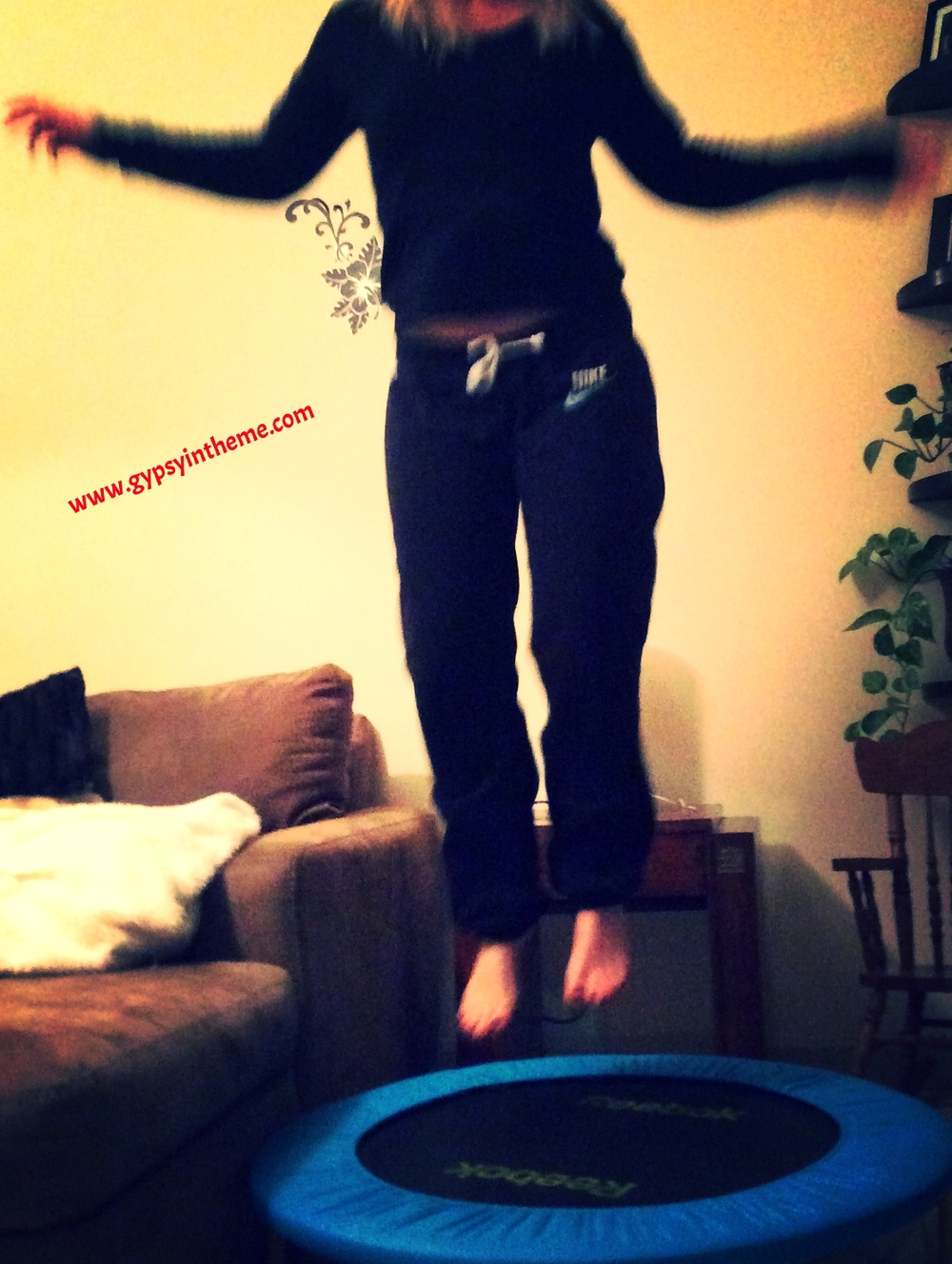 Life is full of little surprises.  I never thought a mini-trampoline could make such a HUGE difference in my life.  In the space of five weeks, I've practically eradicated the back pain, heel pain, buttock tightness, and leg numbness that had been plaguing me for years.  I feel like a new person.  I have no reason to stop.  25 minutes four times a week while watching a short episode of Come Dine With Me with Kiddo ... I'm happy!