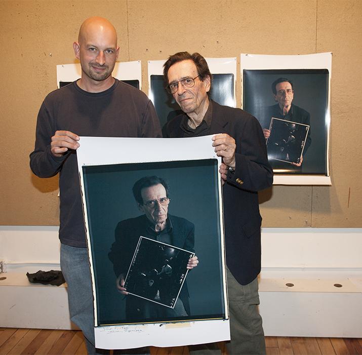Tim Mantoani and Bill Eppridge at the 20x24 Polaroid Studio.