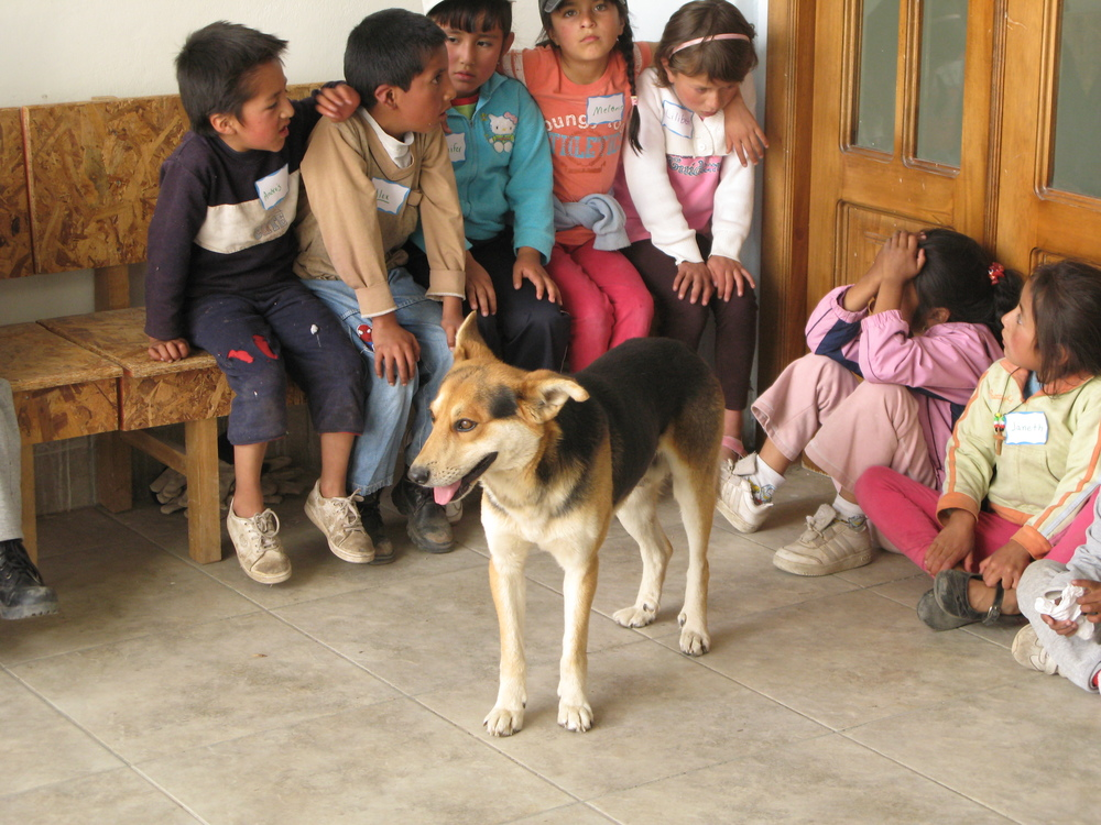 Kids waiting their turn for parasite medicine.  The dog belonged to one of the kids and would not leave his side.  Very common.