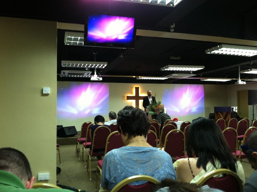 Worshiping at an international church.