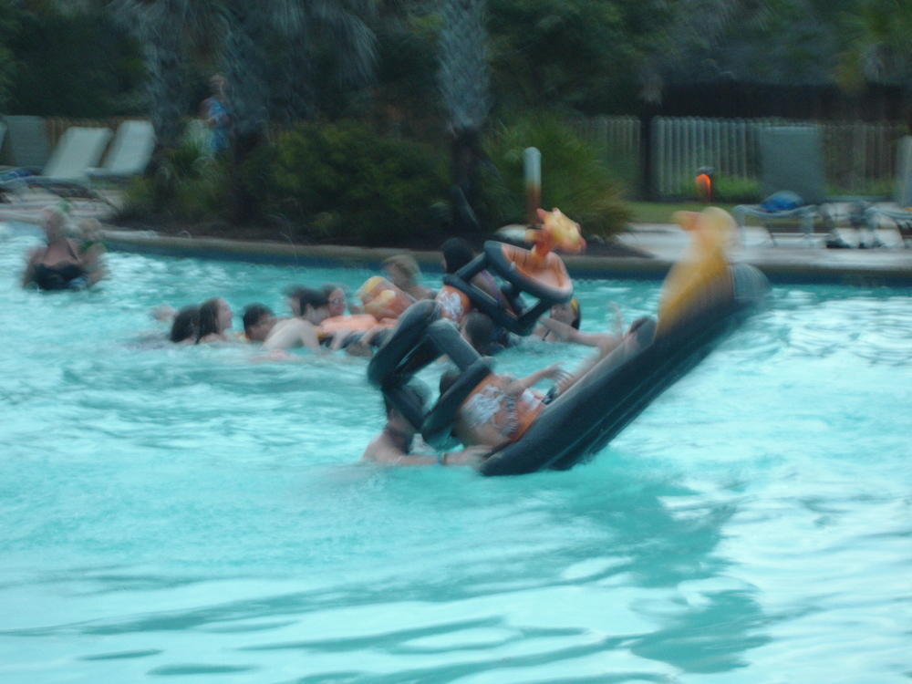 Survivor games at the pool - Yes, most of my pictures did not turn out very well! But they had a fun time.