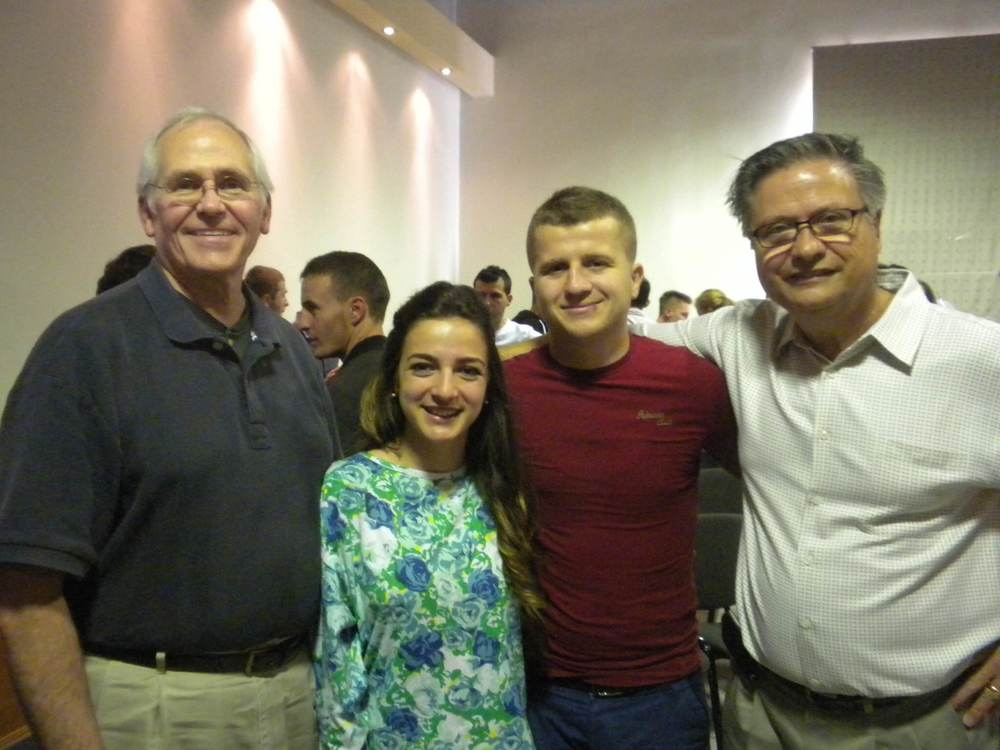 Rick and Rob with their friends, Renis and Alba Quose, who work with university students in Tirana