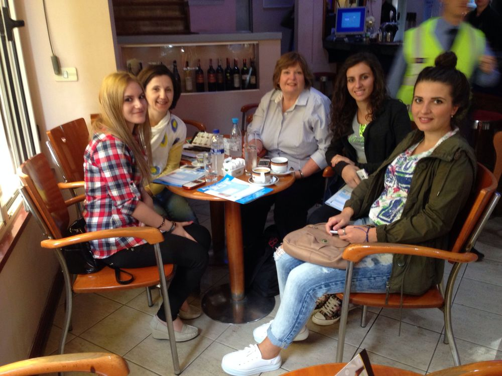 Sherry, Edvina, and Karen enjoyed having coffee and sharing the gospel with some Albanian students.