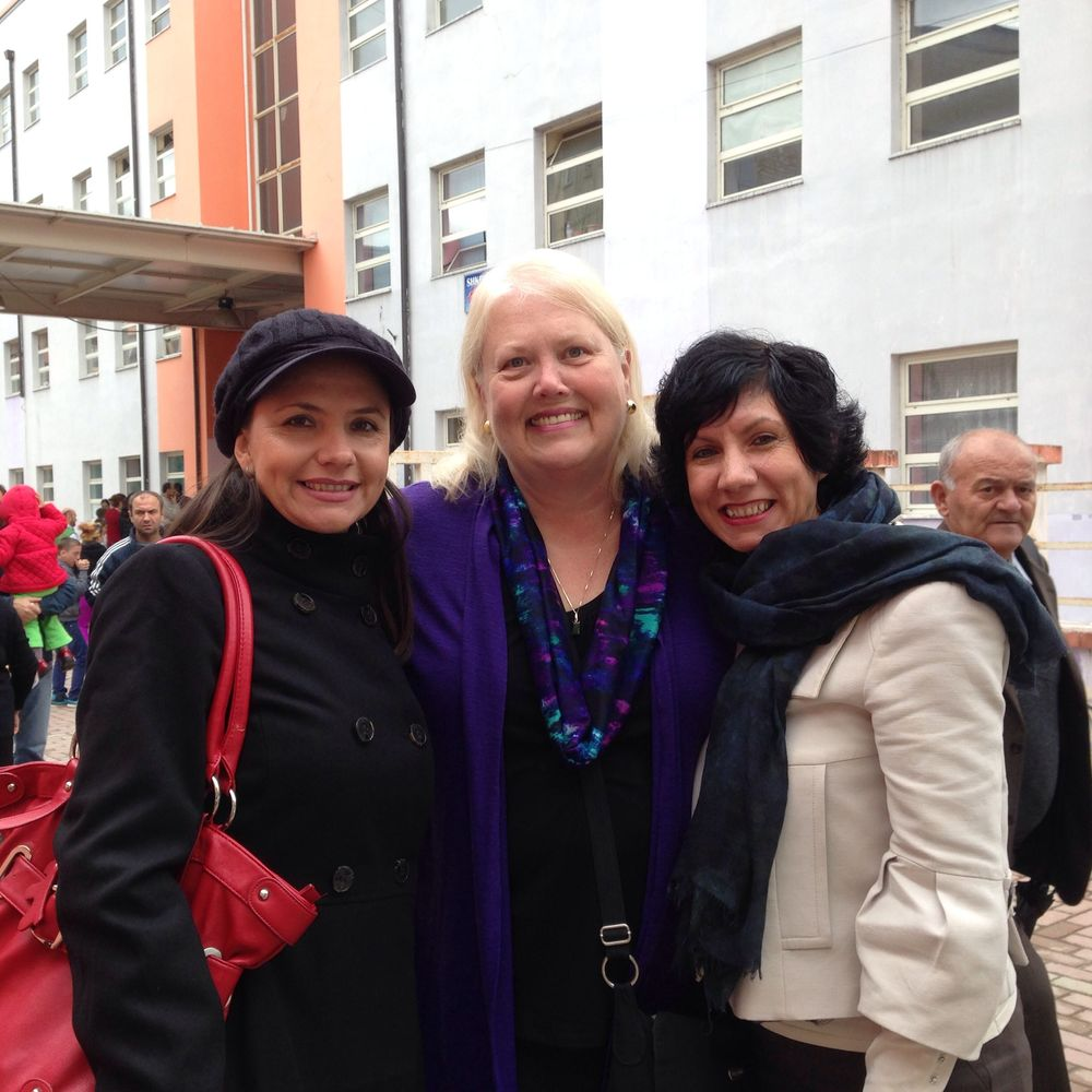 Karen with two of the Campus Crusade staff members who work with families and teachers in the local schools