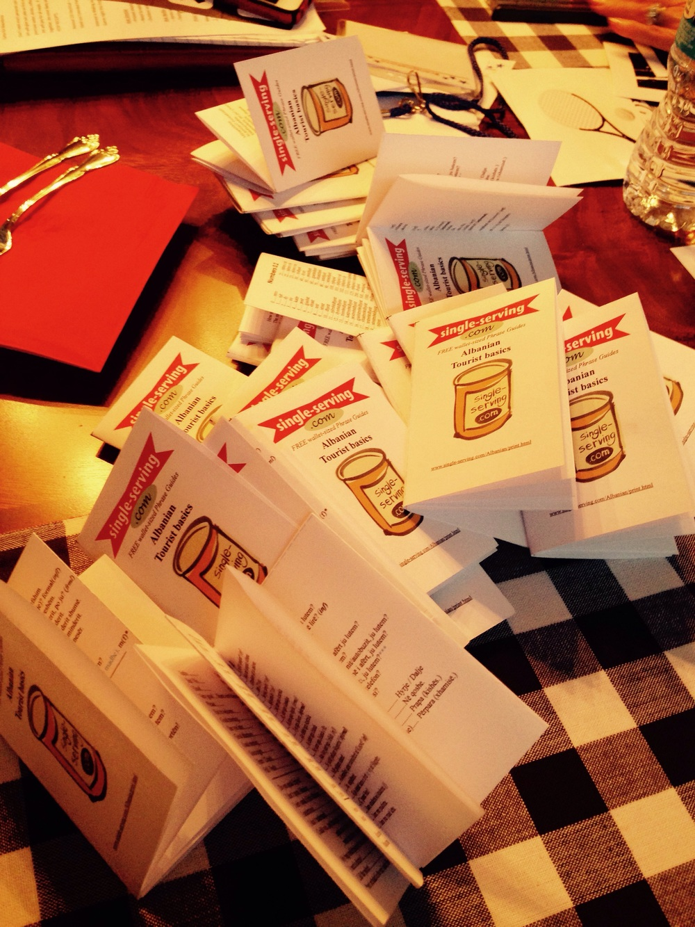 We folded a bunch of Albanian pocket language guides. Definitely going to come in handy!