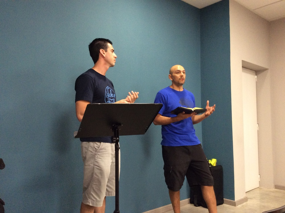 Morning devotions with Manny (English) and Carlos (Spanish).