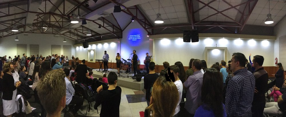 One of the churches that meet at the New Life Center in Tirana