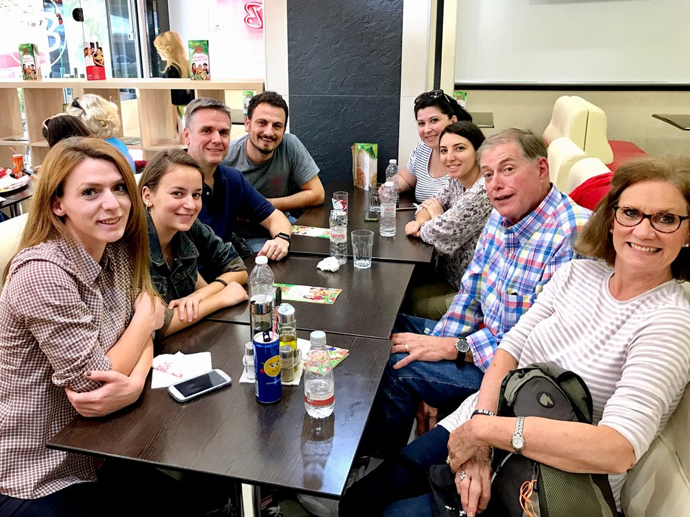Lunch with students and staff at Big Bites (Albanian fast food)