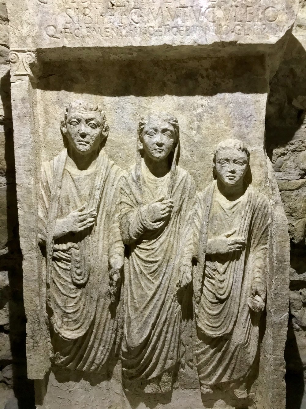 Ancient Roman low relief sculpture on display in the Elbasan castle